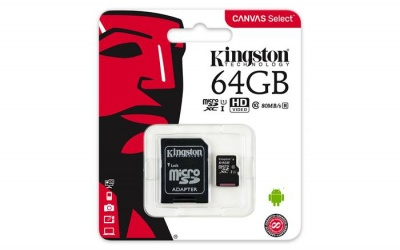 "Memóriakártya, microSDXC, 64GB, C10/U1, 80/10 MB/s, adapter, KINGSTON ""Canvas Select"""